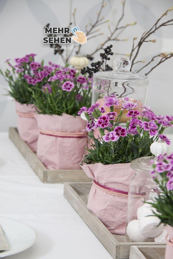 Tischdekoration Mit Rosa Nelken Tischdeko Blumen Rosa