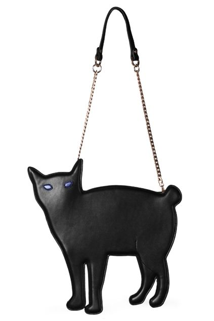 This shoulder bag has been crafted in dacron and PU, featuring magnetic snap design, kitty cat shaped detailing with a long chain shoulder strap, cute and chic.$67.5