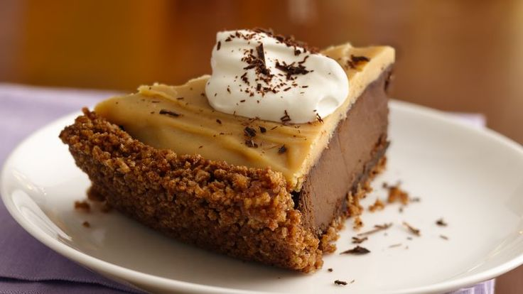 Love chocolate and peanut butter?  This is the pie for you.  Decadent chocolate pudding and peanut butter top a crunchy chocolaty crust made from Chocolate Chex® cereal.
