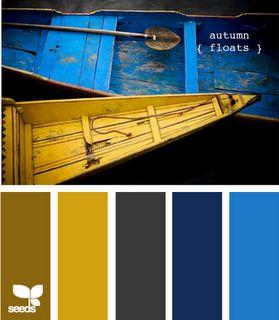 Olivey brown, mustard yellow, dark gray, navy and bright blue.