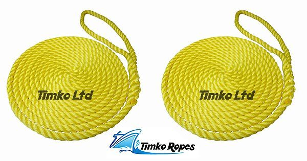 2 x 12mm Yellow 3-Strand Boat Mooring Ropes/Warps/Lines Large Soft Eye One End
