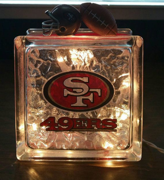 SAN FRANCISCO 49ERS Football Lighted Glass Block by BlockDecor