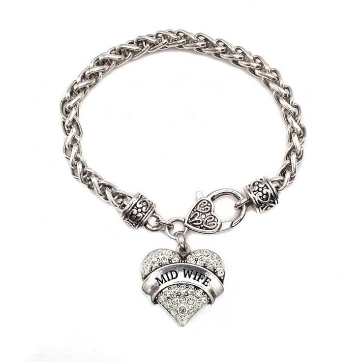 Mid Wife Pave Heart Charm Bracelet  #InspiredSilver #occupation #heartcharm #heart #midwife