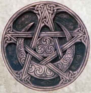 Triple Moon Pentacle Symbol   Pentacle Or Pentagram Cover