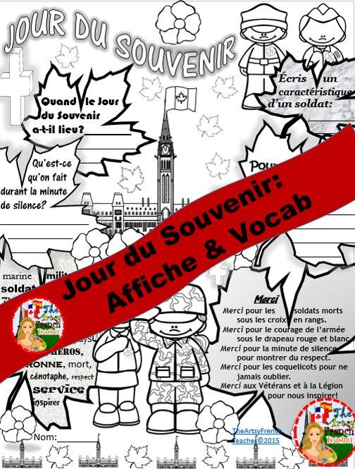 Remembrance Day Poster & Vocab (Canadian). $TPT https://www.teacherspayteachers.com/Product/REMEMBRANCE-DAY-FRENCH-POSTER-VOCAB-Jour-du-Souvenir-2194760