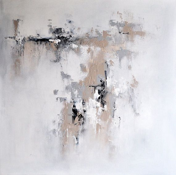 "Original Abstract Painting, Urban Art Grey Beige White 28x28"" UNSTRETCHED Rolled in a tube"