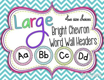 "This packet contains bright chevron large word wall headers (A to Z) in two sizes: 7 inch and 5 inch.  The file also contains ""WORD WALL"" and digraph circles.  I sell the coordinating word wall cards in another packet, just look under my classroom decor category."