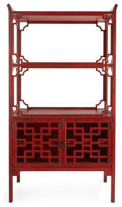 """Red """"Peking"""" Bookcase - asian - bookcases cabinets and computer armoires - Horchow"""