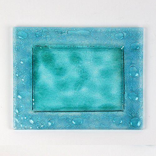 Sandro Moro Vetro Design :Piatto rettangolare azzurro in vetro. Light blue glass plates