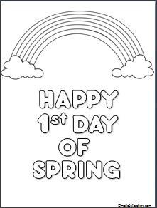 """A """"Happy 1st Day of Spring"""" coloring page available on Madebyteachers.com. {freebie}"""