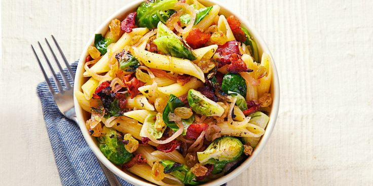Bacon and Brussels Sprout Penne - GoodHousekeeping.com Sounds good minus the raisins!