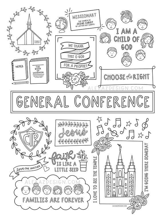 Giant General Conference Coloring Pages Etsy In 2020 Lds General Conference Activities Lds Conference Activities General Conference