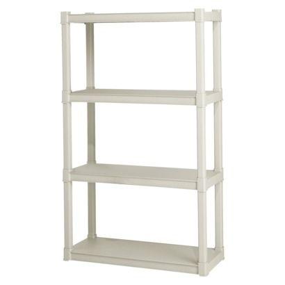 "Sterilite 4 Shelf Storage Unit  57"" H x 34.5""W x 14.38""D  Target $29.99"