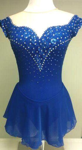 Sapphire Blue custom figure skating dress by Sk8 Gr8 Designs www.sk8gr8designs.com