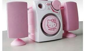 Audifonos y radio hello kitty rosa