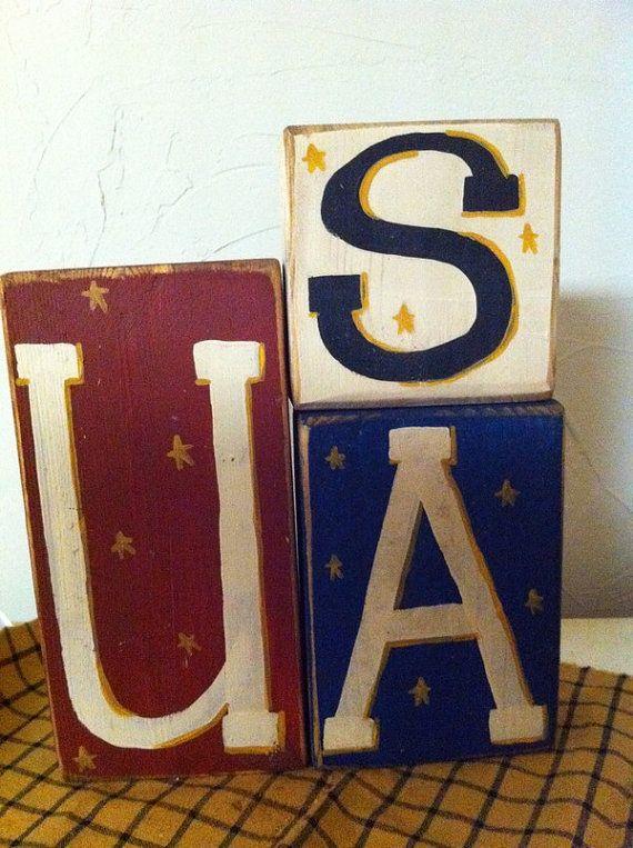 USA Sign stacking wooden blocks Americana decor by trimblecrafts, $19.99