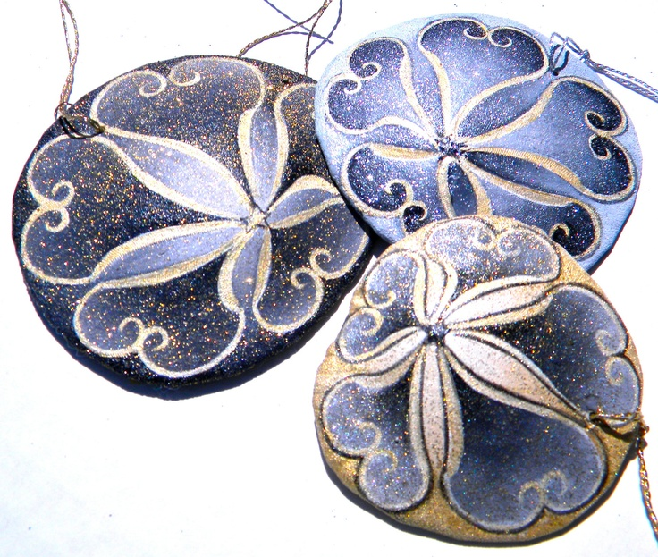 MIDNIGHT IN PARIS Set of 3 Painted California Sand Dollar Ornaments. $40.00, via Etsy.