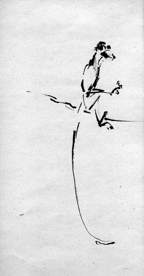 Monkey - black ink drawing