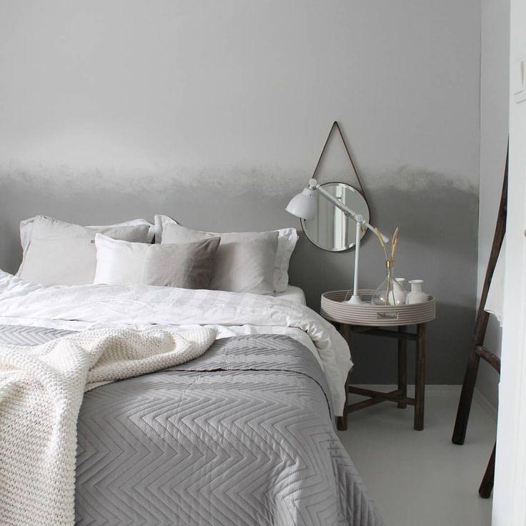 God natt♡♡ good night ♡ ♡ sleep well♡♡ #Idylloghim #bedroom #decoration #ombrepainting #ombrewall #skandinaviskehjem #nordicinspiration #gotosleep #grey