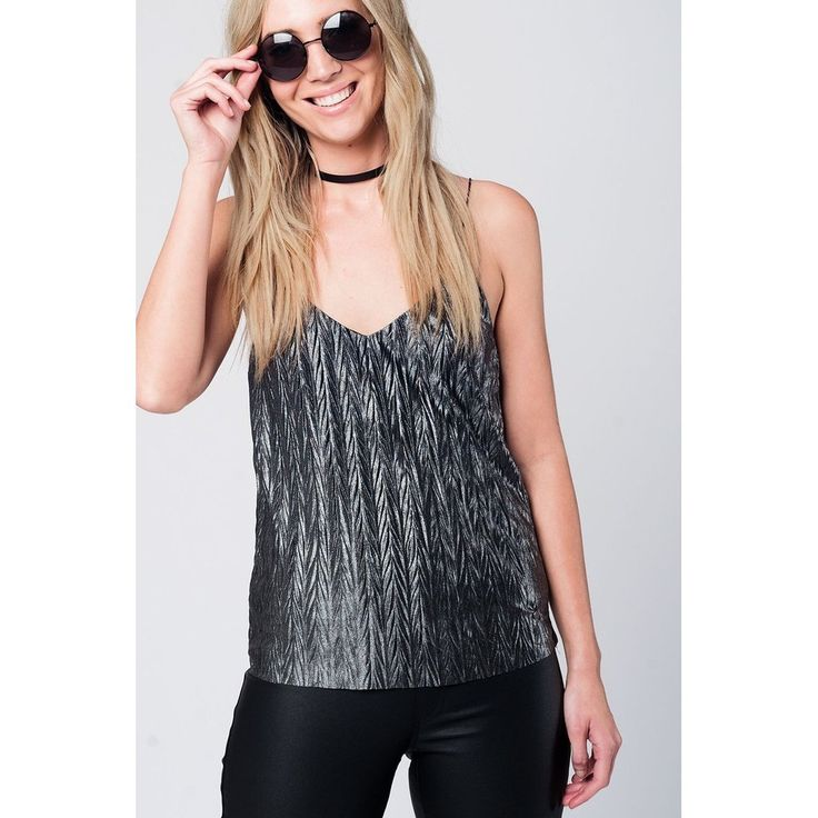 Silver texturized cami top