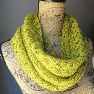 Spring Lace Infinity Scarf   AllFreeKnitting.com 4 Circular Knitting Needles  Yarn Weight: (1) Super Fine (27-32 stitches to 4 inches)