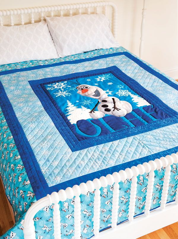 Wrapping up in this quilt is like getting a warm hug from Olaf, the friendliest snowman to walk the mountains above Arendelle. Olaf is innocent and goofy, and he's loved by children and adults around the world.