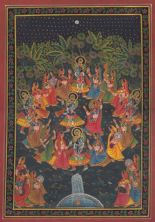 Rasa Lila - Dance of the Divine - The gopis follow Krsna's fluting into the forest for ecstatic spiritual dance throughout the night.  Romantic love is merely an illusionary reflection of the soul's original, ecstatic spiritual love for Krishna, God, in the spiritual world.