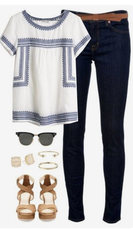 **** Blue and white embroidered top and dark washed skinnies!! Love the saddle colored block sandal and accessories to spruce up this adorable boho look! Get great looks just like these from Stitch Fix today! Stitch Fix Fall, Stitch Fix Spring, Stitch Fix Summer 2016 2017. Stitch Fix Spring Summer fashion. Resort Wear #StitchFix #Affiliate #StitchFixInfluencer