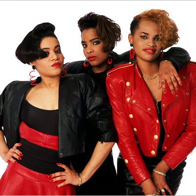 """Salt N Pepa with Spinderella. """"Salt n Pepper's here - And we're in effect - Want you to push it, babe - Coolin' by day then at night working up a sweat..."""""""