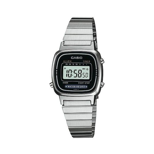 Casio Women's Digital Watch - Silver - LA670WA- (€16) ❤ liked on Polyvore featuring jewelry, watches, silver, digital wrist watch, casio, stretch watches, silver digital watches and square digital watches
