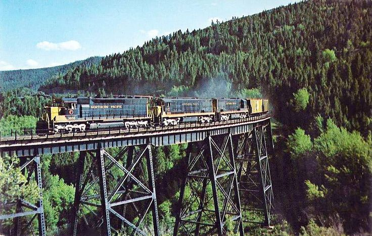 A Northern Pacific freight train crosses the Greenhorn