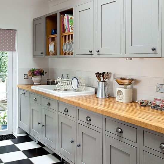 Grey Shaker-style kitchen with wooden worktop | Kitchen decorating | Ideal Home | Housetohome.co.uk: