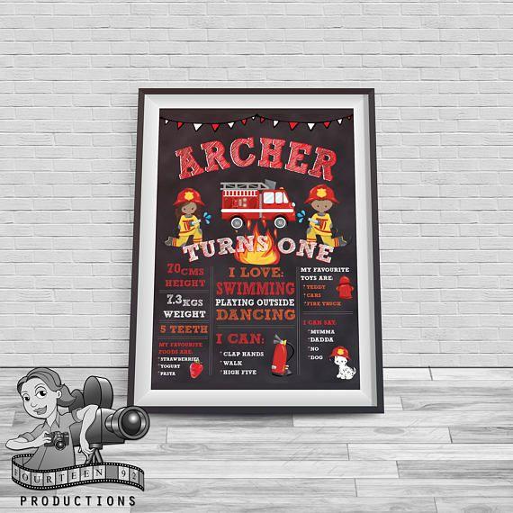 Fireman Chalkboard Milestone Poster