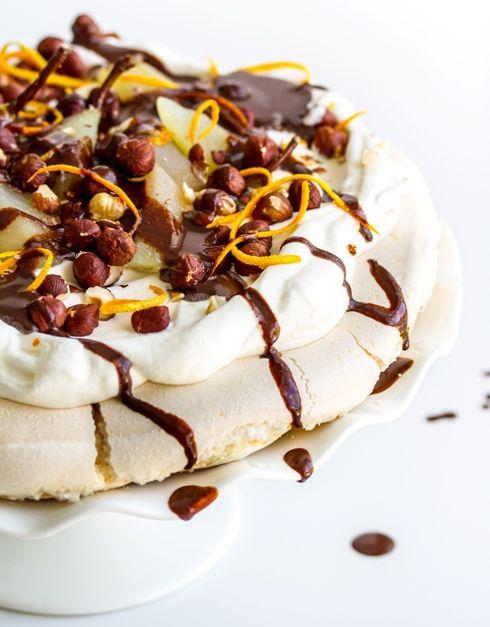 Pavlova with pears, hazelnuts, orange and dark chocolate: Orange, Cake, Pavlova, Chocolates, Food, Dark Chocolate, Pears, Chocolate Sauce, Dessert