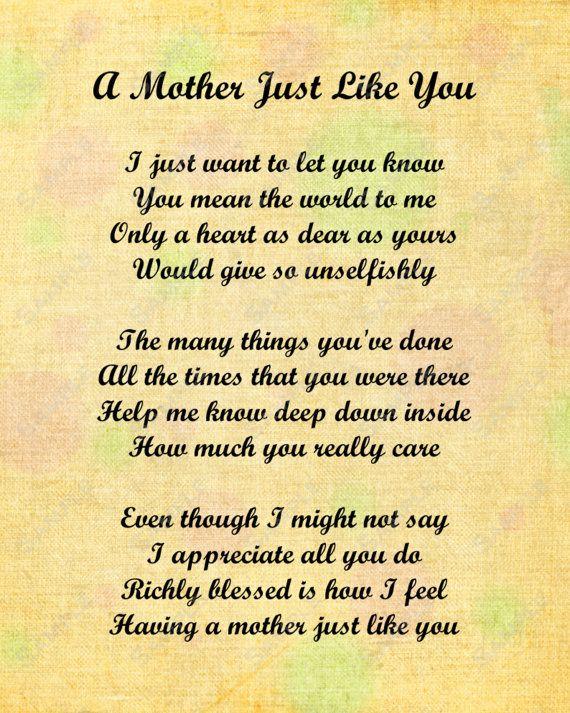 Best 25 Mom poems ideas on Pinterest  Mothers love poem
