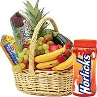 Fresh Fruit Basket with Horlicks 500 Gms and Britannia Biscuits 2 Packs - Send this hamper consisting of fresh fruits (apples,bananas,oranges,sweet limes etc),Horlicks and (500gms) and 2 packs of Britannia Biscuits and make the recipient feel that you car.
