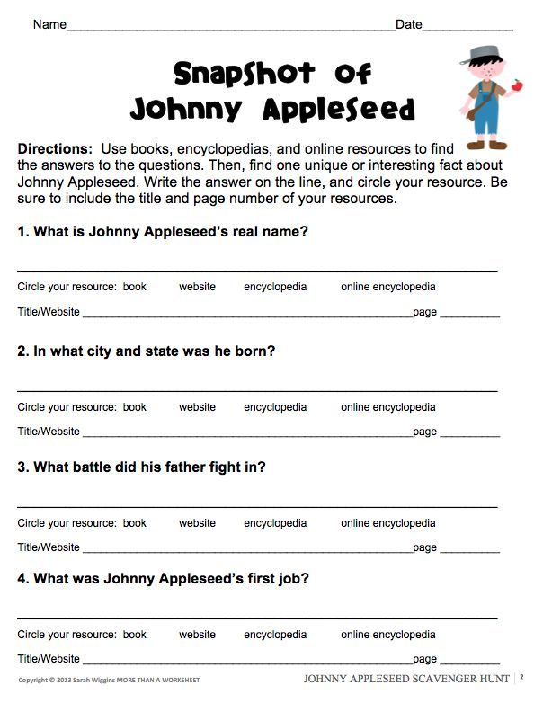 Johnny Appleseed Research Scavenger Hunt | Johnny Appleseed, Scavenger ...