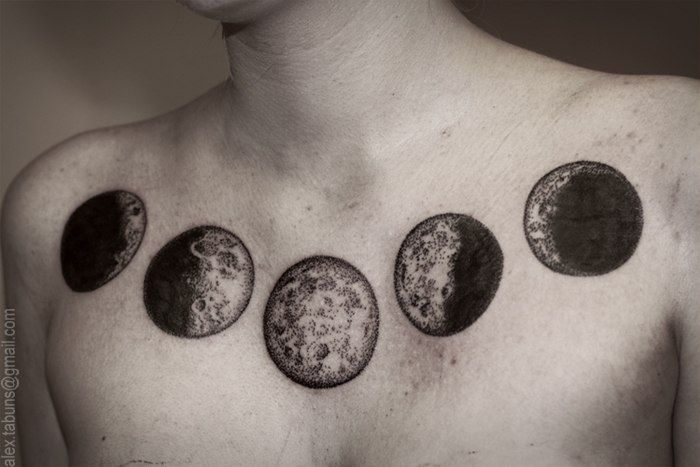 Moon phases stippled tattoo alex tabuns for holes and for Phases of moon tattoo