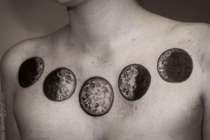 Moon phases stippled tattoo alex tabuns tattoos for Moon phase tattoo