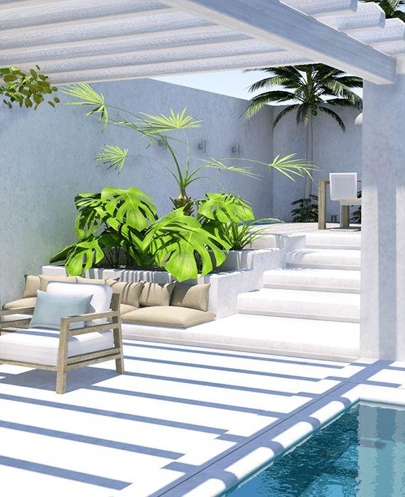 Un patio contempor�neo de aire tropical