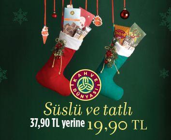 Süslü ve Tatlı…İçinde en tatlı sürprizlerle yılbaşı çorapları sanal mağazamızda sizleri bekliyor. www.kahvedunyasi.com/sanalmagaza