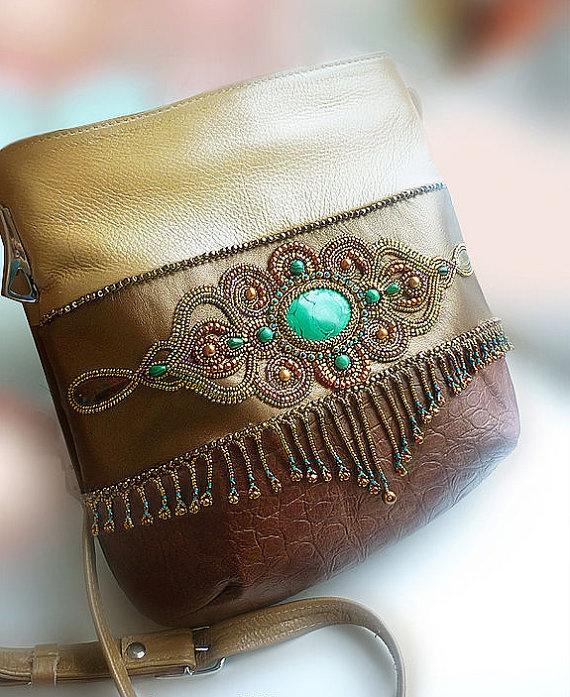 Malachite leather handbag purse with by jewelryelennoel on