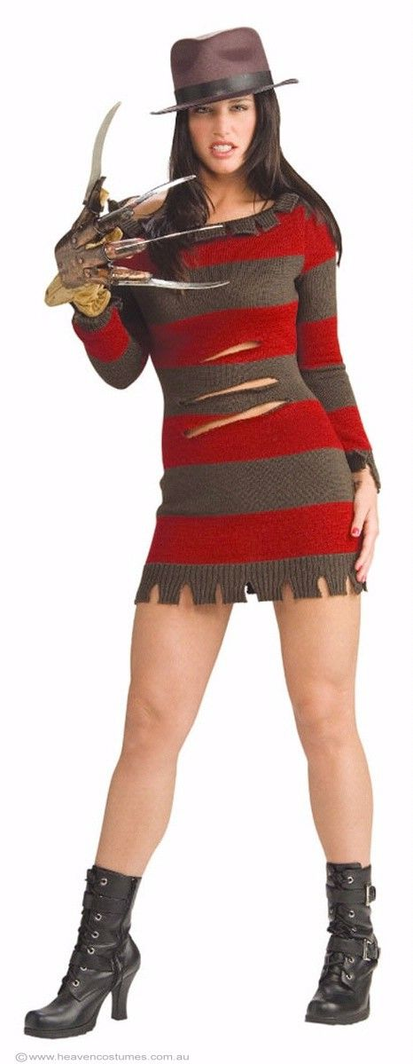 Miss Krueger Women's Halloween Costume -   Women's Sexy Miss Krueger Halloween Costume This women's Freddy Krueger costume is perfect for your next horror Nightmare on Elm St Halloween costume party. Team up with Freddy and get your claws out for an unmissable 80's horror movie, Halloween fancy dress costume duo! Description:   Green and red striped knit jumper dress, with tears and rips across it. Krueger style brown felt fedora hat with black band. Freddy Krueger novelty hand glove ...