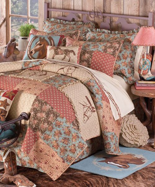 Cowgirl Quilt Cowgirl Quilt Bedding Collection: We've hand-selected this handsome, heirloom-quality quilted bedding for its wonderful textures, rich vintage colors, and beautiful horse head embroidery. All piece coordinate to create a stunning western-themed centerpiece for your bedroom! Made of 100% cotton with a smooth brushed-poly backing. Imported.