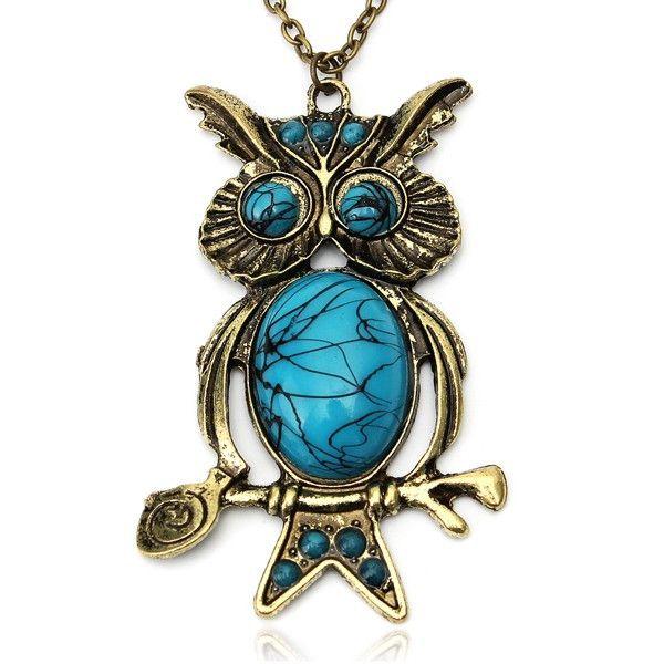 Blue Stone Owl Pendant Alloy Necklace