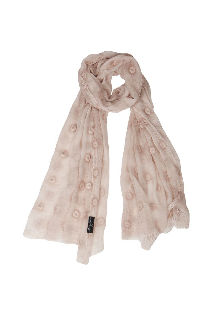 Timeless, seasonless, silk & modal mix scarf tie dyed in soft blush pink & embroidered. SS 2015 www.marygrant.com