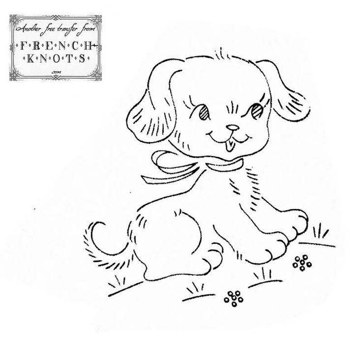 Vintage Puppy Design Embrodery Needle Work Outlines