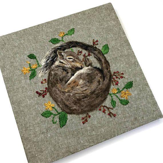 Squirrel Art Woodland Nursery Fiber Art Original Art Wool