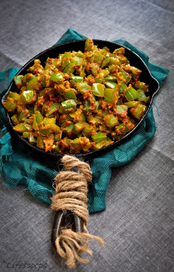 Green Bell Pepper with Chickpea Flour / Gujarati Capsicum Besan Bhaji - (Indian , Vegetarian)