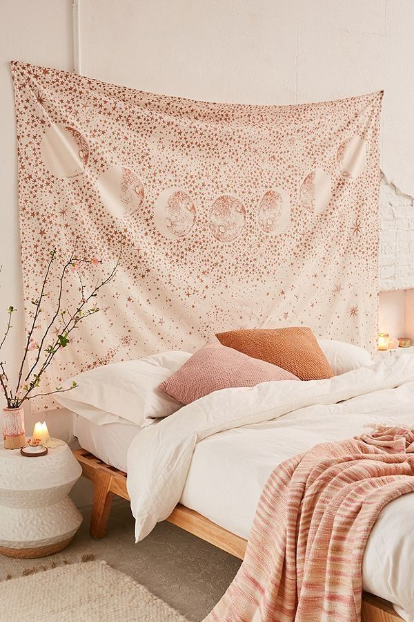 "Stardust Tapestry - love the idea of a tapestry as a ""headboard"""